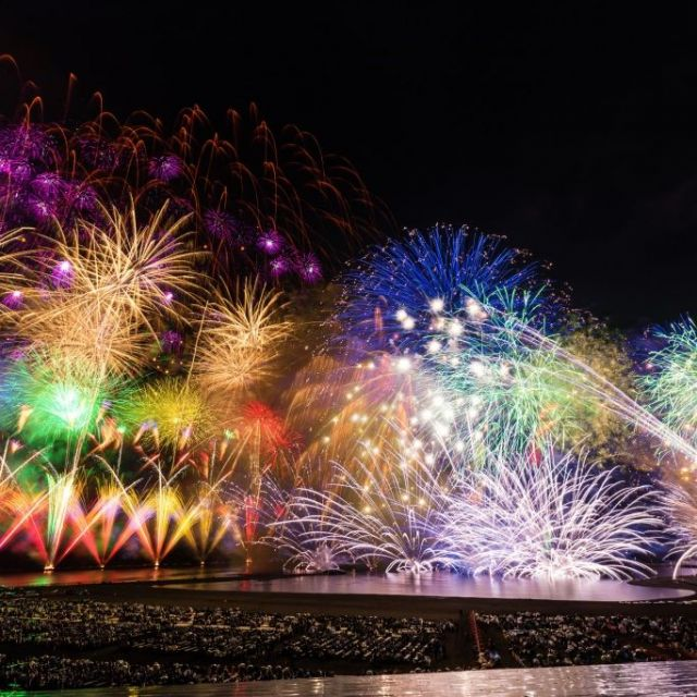 Gion Kashiwazaki Festival with large scale fireworks display over the ocean